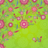 Bright spring pattern with flowers and leaves. Royalty Free Stock Image