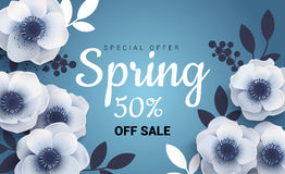 Bright spring sale banner with paper flowers anemones. royalty free illustration