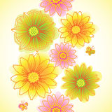Bright spring seamless border with flowers. Stock Photos