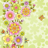 Bright spring seamless border with flowers. Royalty Free Stock Image