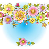 Bright spring seamless border with flowers. Royalty Free Stock Photos