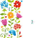 Bright spring seamless border with flowers. Stock Images