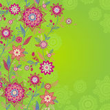 Bright spring seamless border with flowers and leaves. Royalty Free Stock Photos