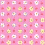 Bright spring seamless pattern of flowers and blots Stock Images