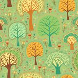 Bright spring seamless pattern of a green forest Royalty Free Stock Photo