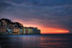 Bright sunset in spectacular romantic old town of Rovinj, Istrian Peninsula, Croatia, Europe. Bright spring sunset in spectacular romantic old town of Rovinj royalty free stock photography