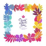 Bright square frame with leaves and place for your text. ECO autumn Nature wallpaper. BIO design Stock Image