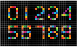 Bright squares numbers Stock Image