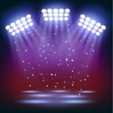 Bright stadium spotlights background Royalty Free Stock Images