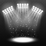 Bright stadium spotlights on transparent background Stock Image