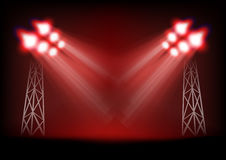 Bright stage with light masts Royalty Free Stock Image