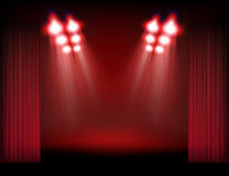 Bright stage with spot lights Royalty Free Stock Image