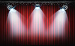 Bright stage spotlights shining on red curtain background. 3d re stock illustration