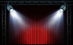 Bright stage spotlights shining on red curtain background stock illustration