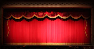 Bright Stage Theater Drape Background  With Yellow. Real Stage Theater Drape Background  With Yellow Vintage Trim. Image Has Slight Noise Due to Lighting Royalty Free Stock Photo
