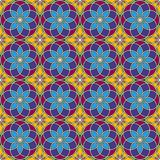Bright stained glass background. Colorful kaleidoscope seamless pattern with decorative round ornaments. Floral motif. Ornamental vivid wallpaper. Vector Stock Photo