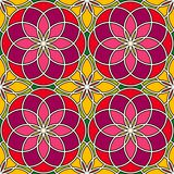 Bright stained glass background. Colorful kaleidoscope seamless pattern with decorative round ornaments. Floral motif. Ornamental vivid wallpaper. Vector Stock Image