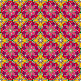 Bright stained glass background. Colorful kaleidoscope seamless pattern with decorative round ornaments. Floral motif. Ornamental vivid wallpaper. Vector Stock Photos