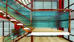 Bright staircase in the modern building 3d rendering Royalty Free Stock Photography
