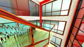 Bright staircase in the modern building 3d rendering Royalty Free Stock Photo