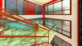 Bright staircase in the modern building 3d rendering Royalty Free Stock Image
