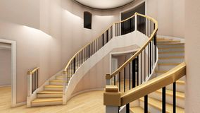 Bright staircase in the modern office 3d rendering Stock Images