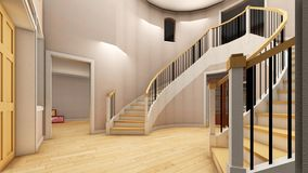 Bright staircase in the modern office 3d rendering. Bright staircase in the modern office Stock Photography