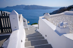 Bright stairs on Santorini island, Greece Royalty Free Stock Photo