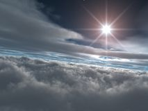 Bright Star above Heavenly Clouds Stock Image