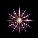 Bright Star Burst Light Effect with Glittering, Glowing Sparkles - Nebula Flare and Glare Stock Photos