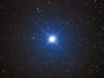 Universe stars, Capella star in night sky. Brightest night stars, Capella star in Auriga constellation stock photography