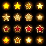 Bright star Icons set, star logos, star icon art, shiny star icons, star objects, colorful star symbols. Isolated  illustrations Stock Images