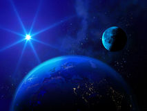 Bright star illuminates the Earth and the moon. Royalty Free Stock Photos