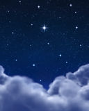 Bright star in night sky or space Royalty Free Stock Images
