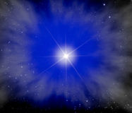Bright Star in Outer Space. Illustration of the brightest star in a galaxy with smaller stars, clouds and light.  Concept image for the galaxy or milky way or Royalty Free Stock Image