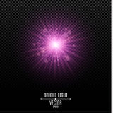 A bright star of a purple color. Purple flash of light. Abstract purple lights and rays of light. Glare bokeh. Vector illustration Stock Photography