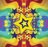Bright star rainbow. Fun Bright vibrant yellow star with colorful happy psychedelic rainbows bursting out Stock Image