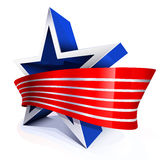 The bright star with red white ribbon Stock Images