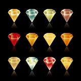 Bright  star rounded hexagon  gem set in vector Stock Photo