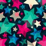 Bright star seamless pattern with grunge effect Stock Images