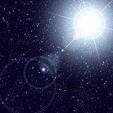 Bright star shining in the starry cosmos. Stock Photos