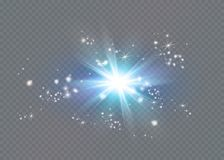 Bright star. Translucent shine sun, bright flare Stock Image