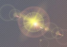 Bright star. Translucent shine sun, bright flare. Bright star. Translucent shine sun bright Royalty Free Stock Photo