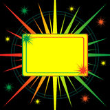 Bright starburst abstract background. Star burst in shades of yellow orange and green with space for copy text. Abstract black background Royalty Free Stock Photos