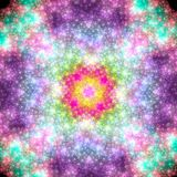 Bright starry sky. Distant galactic nebula. 3D surreal illustration. Sacred geometry. Mysterious psychedelic relaxation pattern. Fractal abstract texture Royalty Free Stock Photo