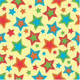 Bright Stars Background. Stars illustration in bright colors on yellow background Stock Photos
