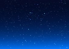 Bright stars in blue dark night sky. Background vector illustration Stock Image