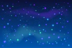 Bright stars in blue night sky. Vector dark space illustration Royalty Free Stock Photos