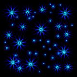 Bright stars for Christmas. Blue textile tablecloth with stars Royalty Free Stock Image