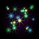 Bright stars of different colors on a black background. Raster Royalty Free Stock Photo